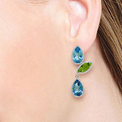 Blue Topaz and Peridot Petal Drop Earrings 13.6ctw in 9ct White Gold