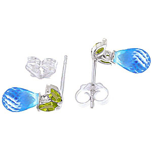 Blue Topaz and Peridot Snowdrop Stud Earrings 3.4ctw in 9ct White Gold