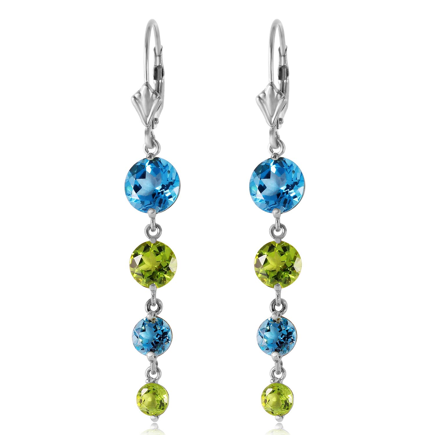 Blue Topaz and Peridot Quadruplo Drop Earrings 7.8ctw in 9ct White Gold