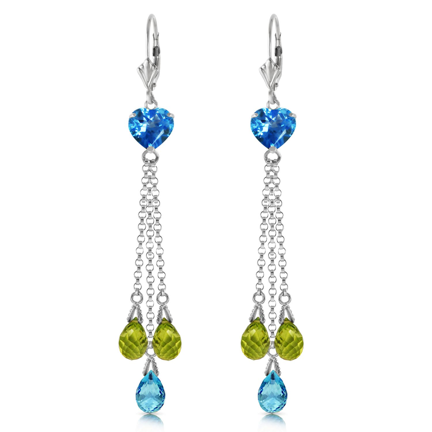 Blue Topaz and Peridot Vestige Drop Earrings 9.5ctw in 9ct White Gold