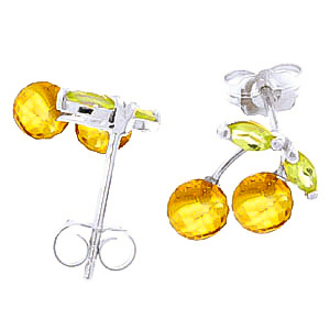 Citrine and Peridot Cherry Drop Stud Earrings 2.9ctw in 9ct White Gold