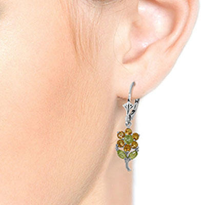 Citrine and Peridot Flower Petal Drop Earrings 2.12ctw in 14K White Gold