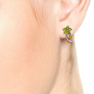 Citrine and Peridot Flower Stud Earrings 1.72ctw in 14K White Gold