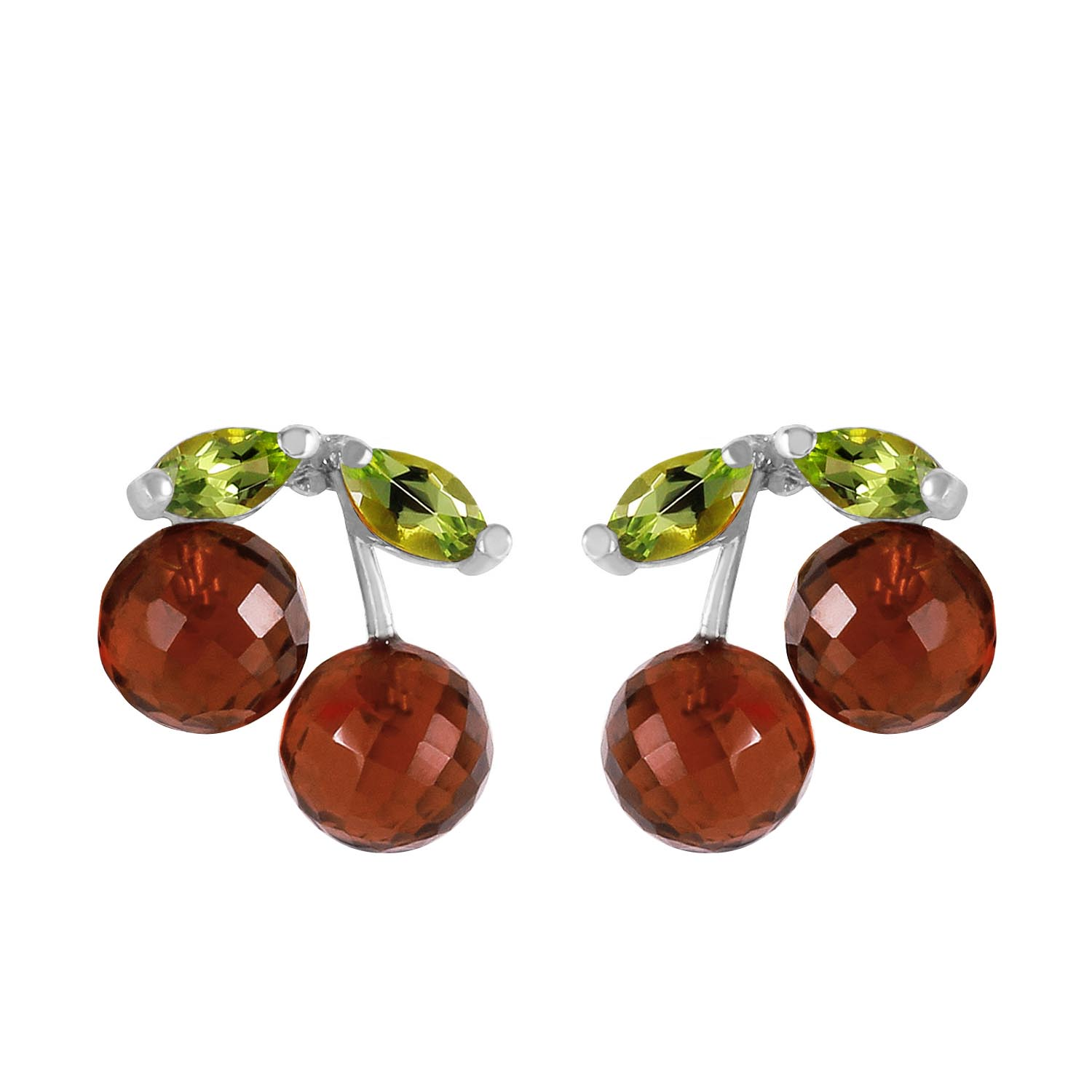 Garnet and Peridot Cherry Drop Stud Earrings 2.9ctw in 9ct White Gold