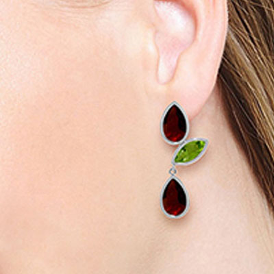 Garnet and Peridot Petal Drop Earrings 13.6ctw in 14K White Gold