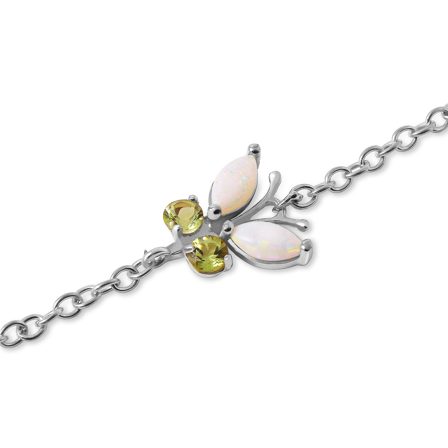 Opal and Peridot Adjustable Butterfly Bracelet 0.6ctw in 9ct White Gold