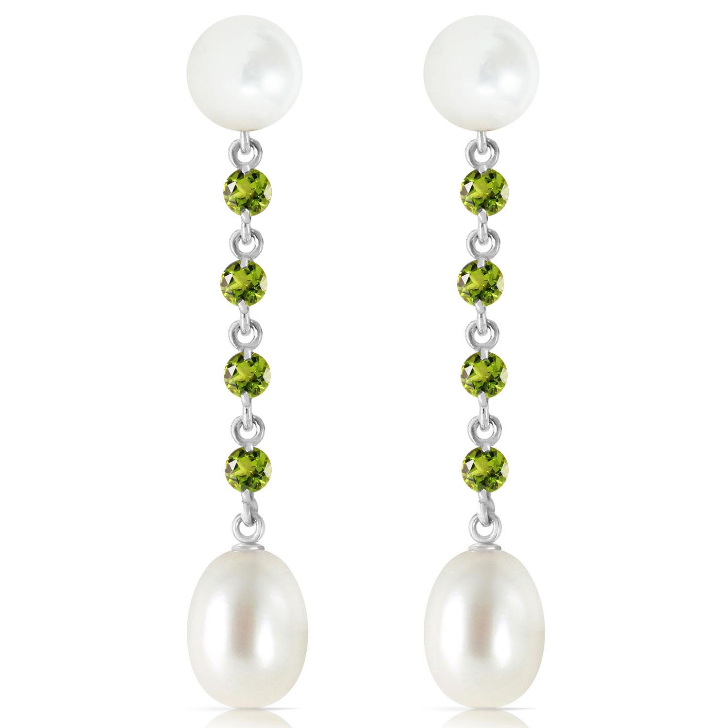 Pearl and Peridot by the Yard Drop Earrings 11.0ctw in 9ct White Gold