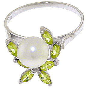 Pearl and Peridot Ivy Ring 2.65ctw in 9ct White Gold