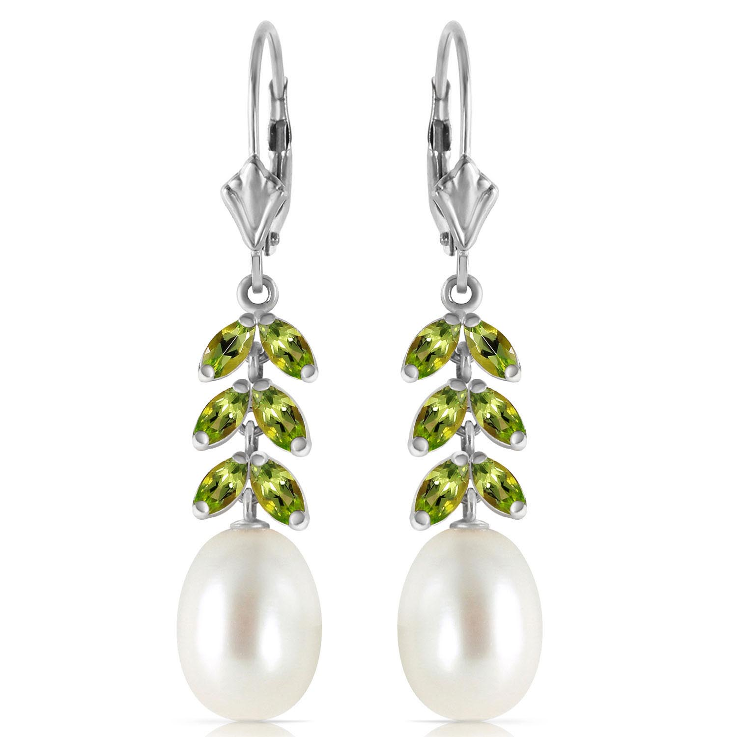Pearl and Peridot Drop Earrings 9.2ctw in 9ct White Gold
