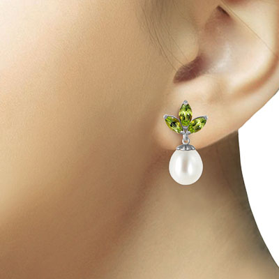 Pearl and Peridot Petal Drop Earrings 9.5ctw in 14K White Gold
