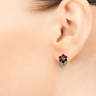 Ruby and Peridot Flower Petal Stud Earrings 2.12ctw in 9ct White Gold