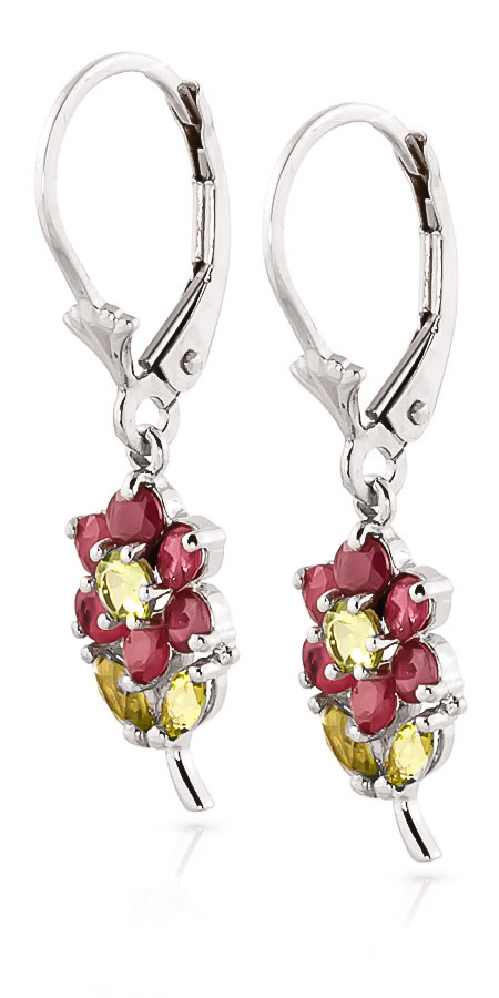 Ruby and Peridot Flower Petal Drop Earrings 2.12ctw in 9ct White Gold