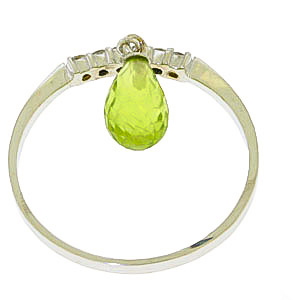 Diamond and Peridot Ring in 14K White Gold