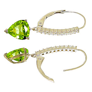 Diamond and Peridot Laced Drop Earrings in 14K White Gold