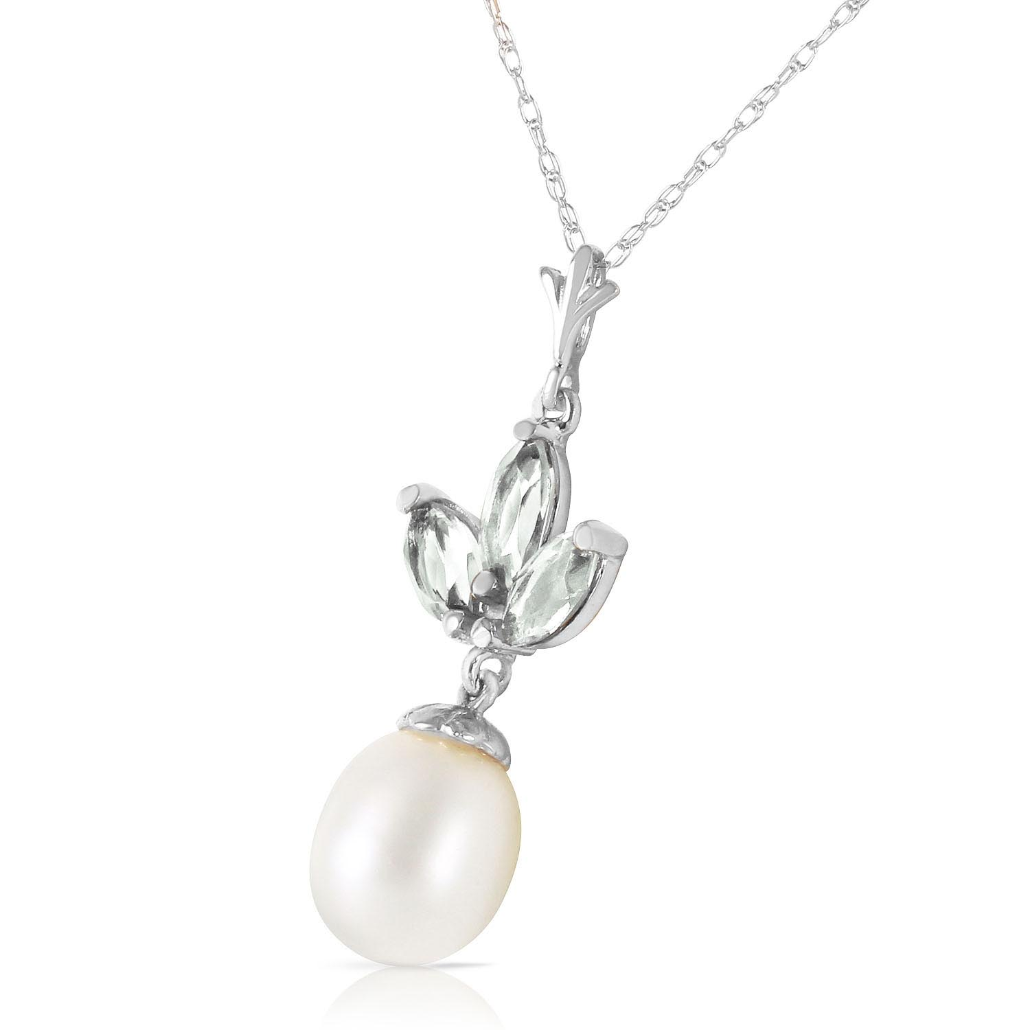 Pearl and Green Amethyst Petal Pendant Necklace 4.75ctw in 14K White Gold