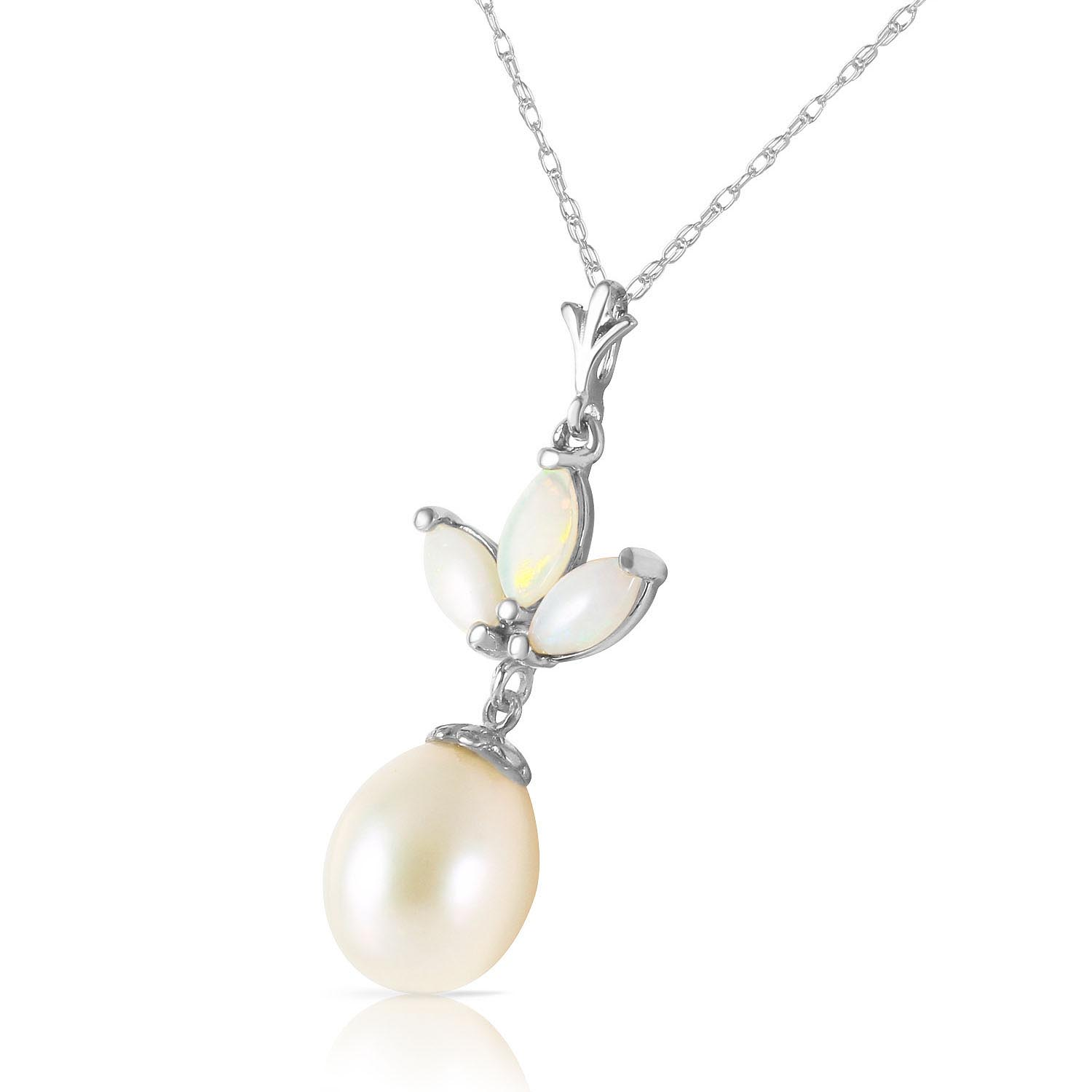 Pearl and Opal Petal Pendant Necklace 4.75ctw in 14K White Gold