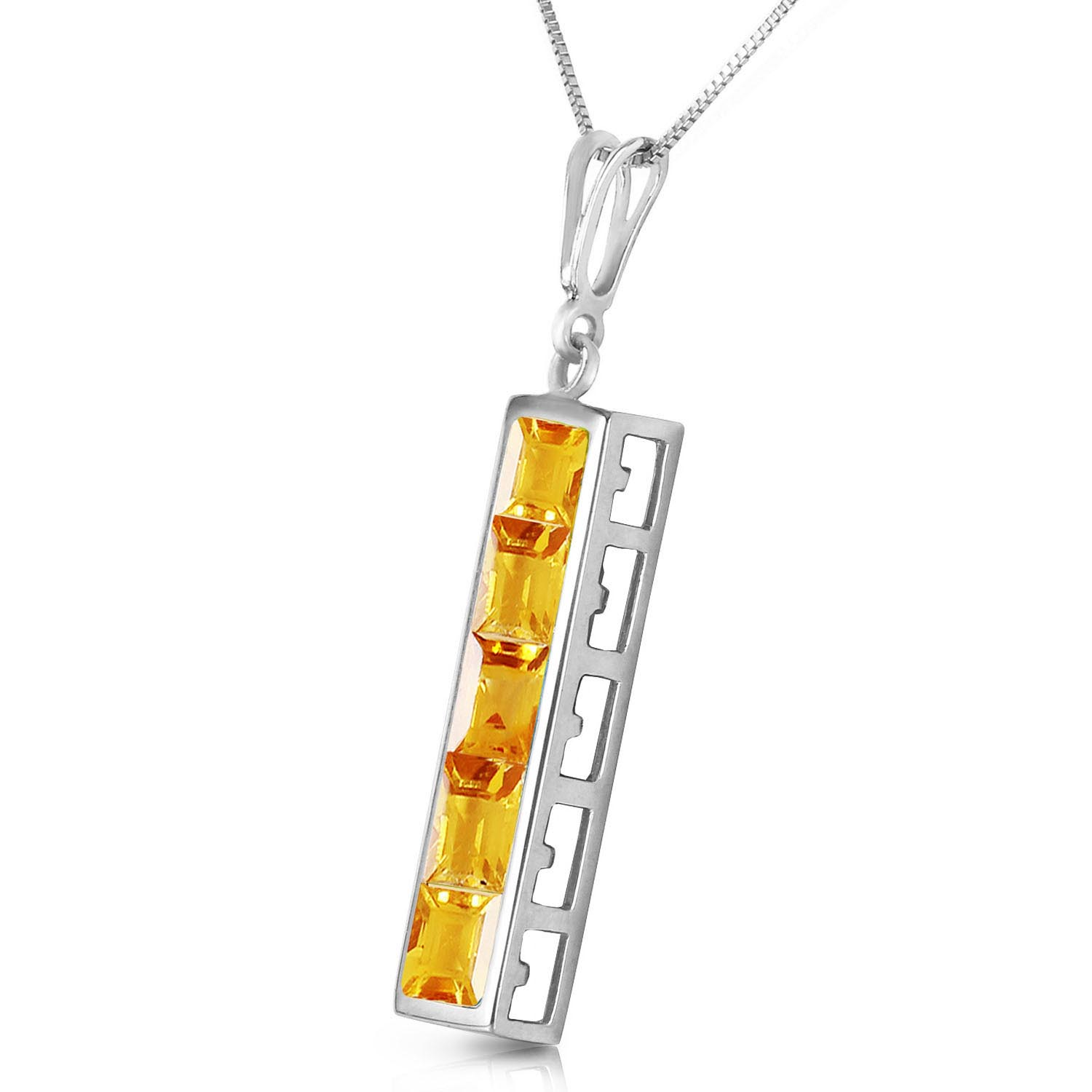 Citrine Channel Set Pendant Necklace 2.25ctw in 9ct White Gold