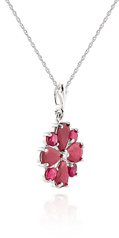 Ruby Sunflower Pendant Necklace 2.23ctw in 9ct White Gold