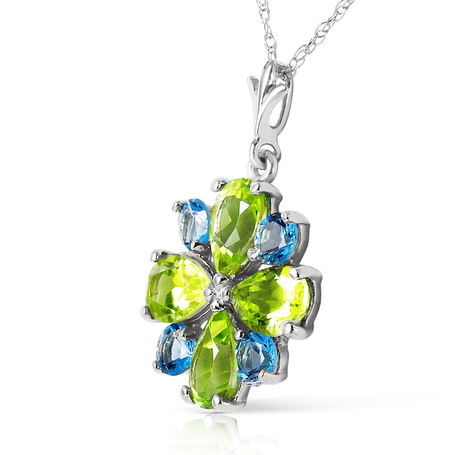 Peridot and Blue Topaz Sunflower Pendant Necklace 2.43ctw in 9ct White Gold
