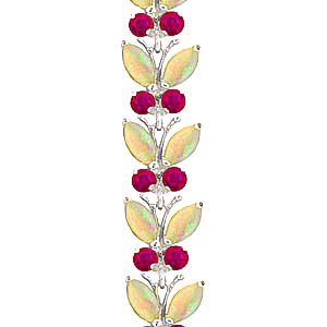 Opal and Ruby Butterfly Bracelet 12.0ctw in 9ct White Gold