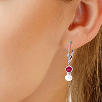 Pearl and Ruby Drop Earrings 2.7ctw in 9ct White Gold