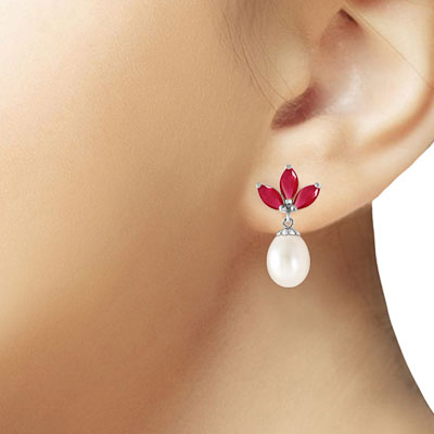 Pearl and Ruby Petal Drop Earrings 9.5ctw in 14K White Gold