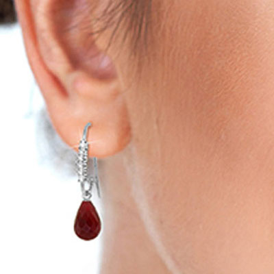 Diamond and Ruby Laced Stem Drop Earrings in 9ct White Gold