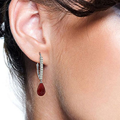 Diamond and Ruby Laced Stem Drop Earrings in 14K White Gold