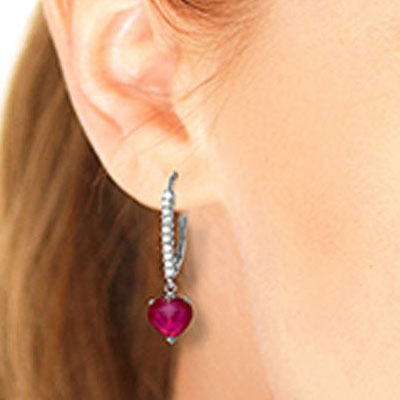Diamond and Ruby Laced Drop Earrings in 9ct White Gold