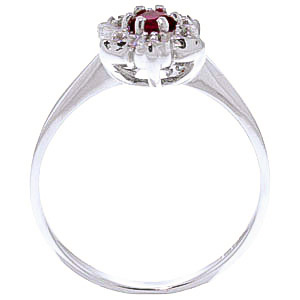 Diamond and Ruby Wildflower Cluster Ring in 14K White Gold