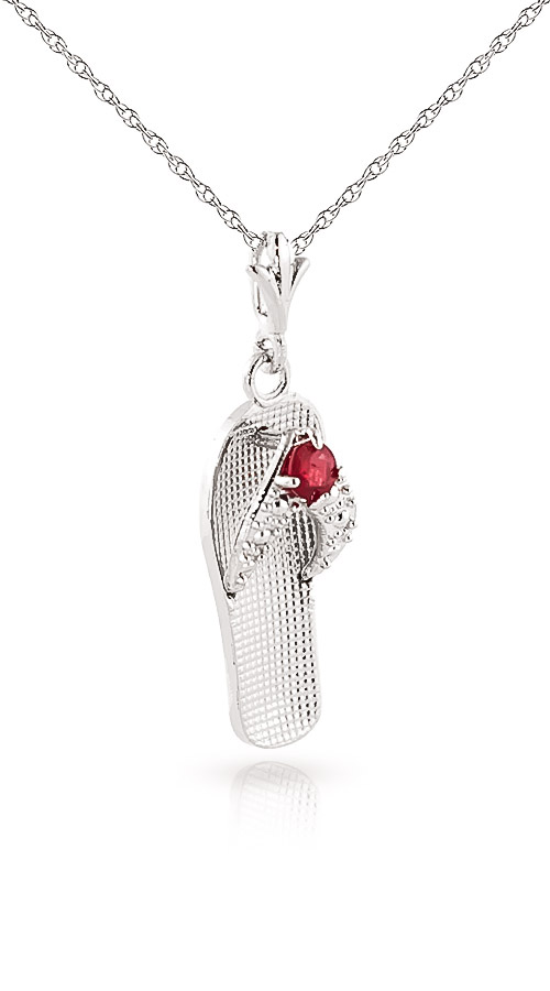 Ruby Sandal Pendant Necklace 0.15ct in 9ct White Gold