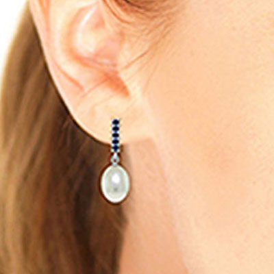 Pearl and Sapphire Stud Earrings 8.4ctw in 14K White Gold