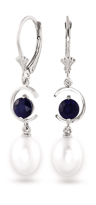 Pearl and Sapphire Drop Earrings 9.0ctw in 9ct White Gold