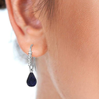 Diamond and Sapphire Laced Stem Drop Earrings in 14K White Gold