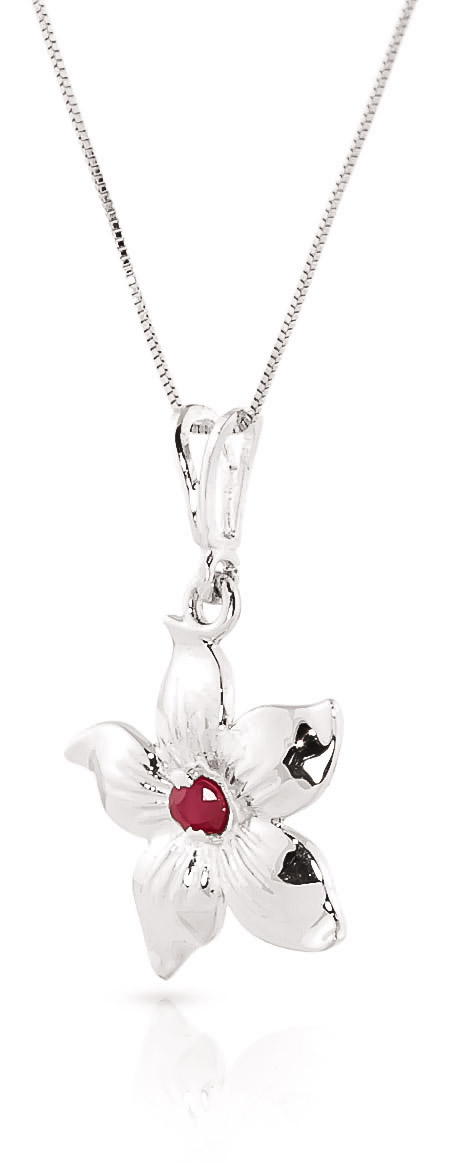 Ruby Flower Star Pendant Necklace 0.1ct in 9ct White Gold