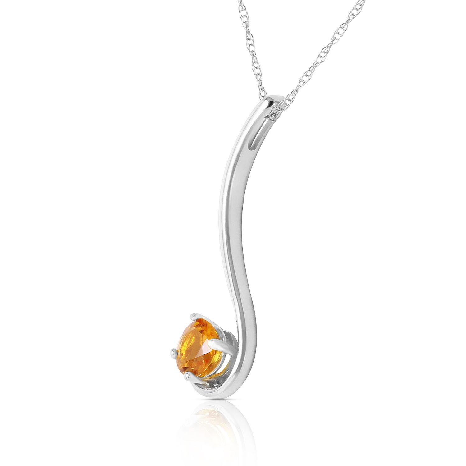 Round Brilliant Cut Citrine Pendant Necklace 0.55ct in 9ct White Gold