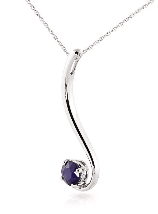 Round Brilliant Cut Sapphire Pendant Necklace 0.55ct in 9ct White Gold