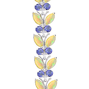 Opal and Tanzanite Butterfly Bracelet 10.5ctw in 9ct White Gold