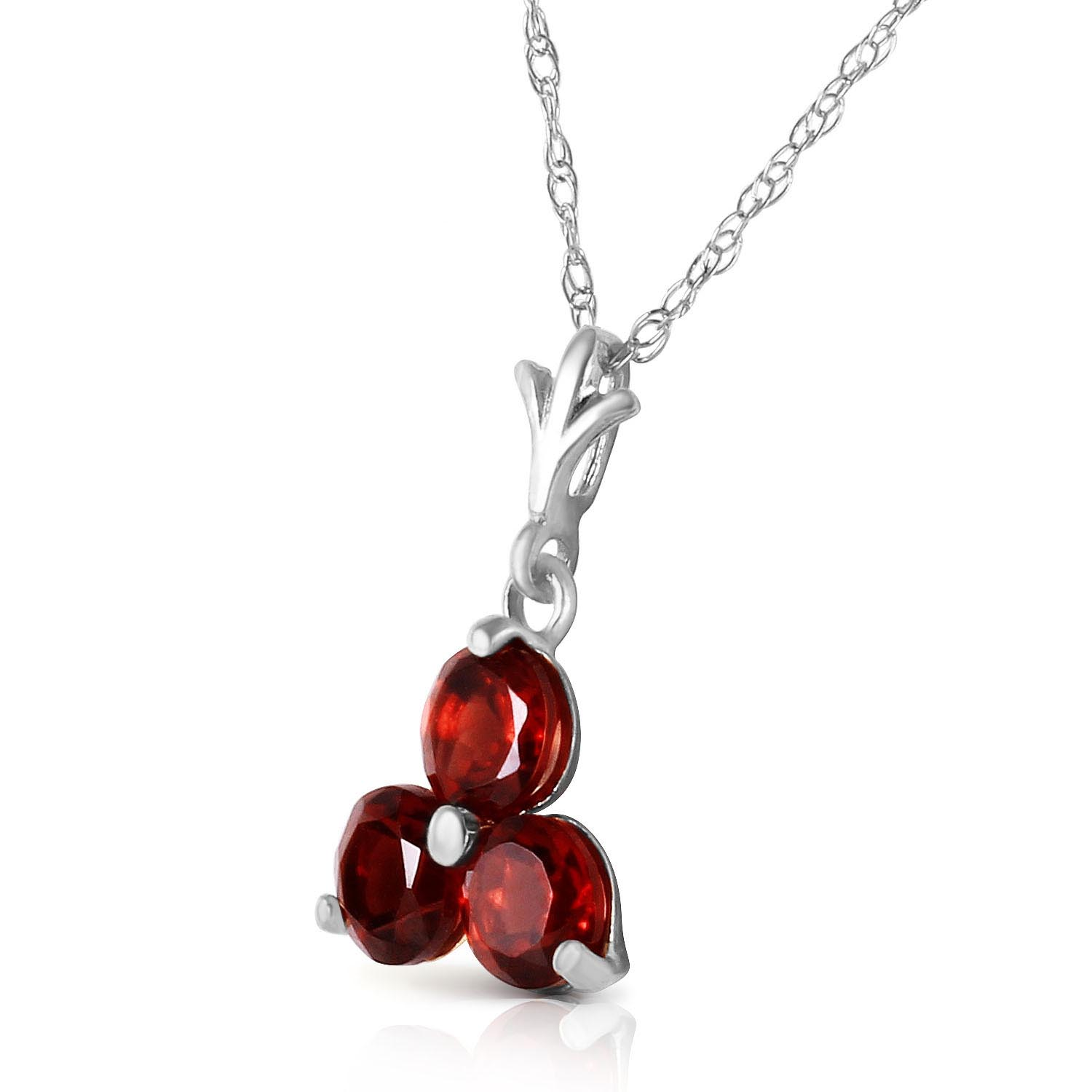 Garnet Trinity Pendant Necklace 0.75ctw in 9ct White Gold