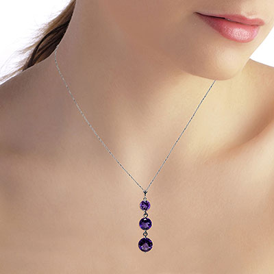 Amethyst Trinity Pendant Necklace 3.6ctw in 9ct White Gold