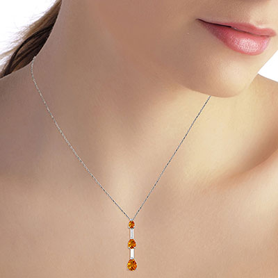 Citrine Trinity Pendant Necklace 1.71ctw in 9ct White Gold
