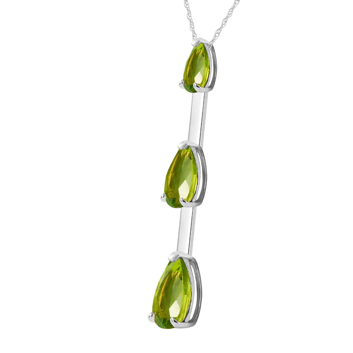 Peridot Trinity Pendant Necklace 1.71ctw in 9ct White Gold