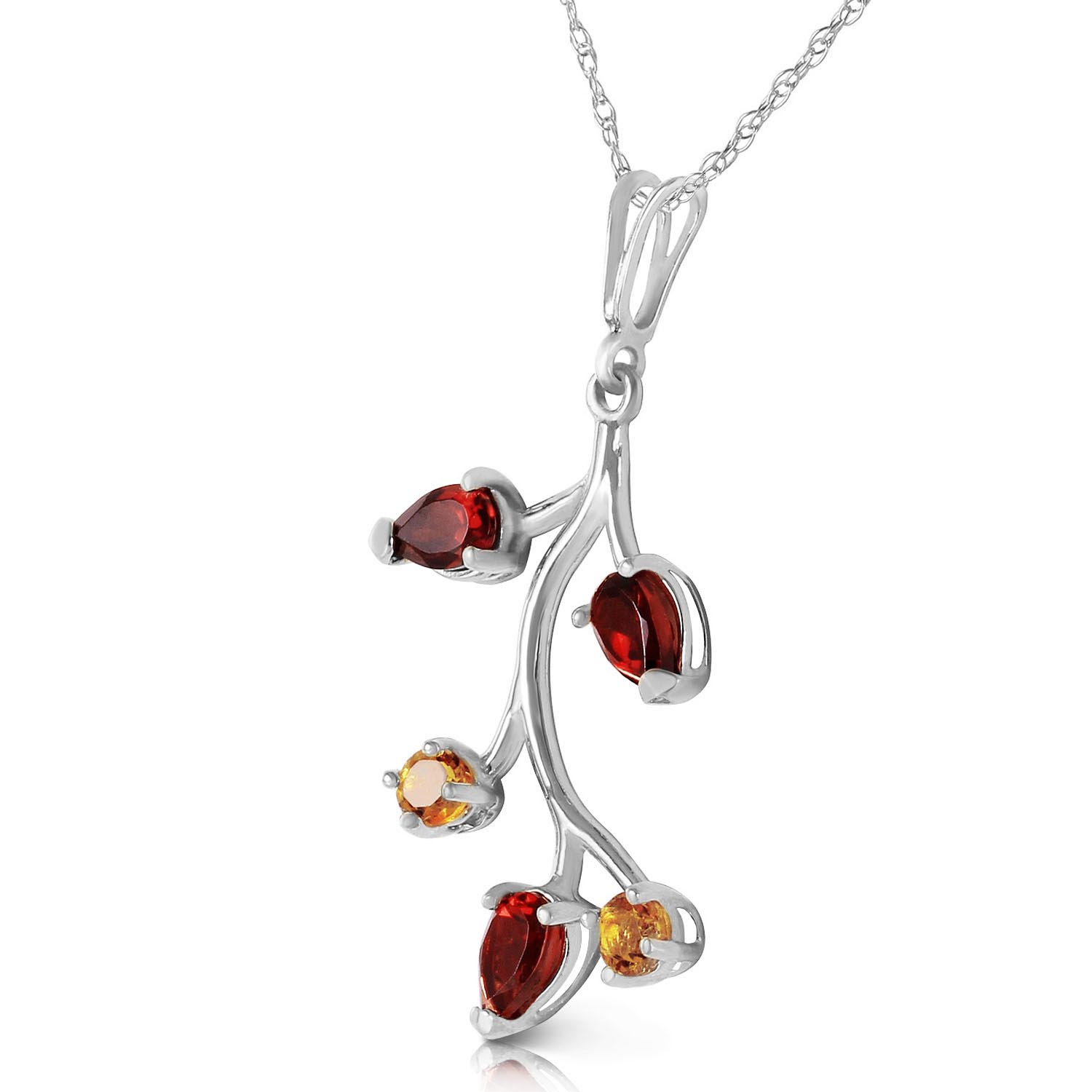 Garnet and Citrine Vine Pendant Necklace 0.95ctw in 14K White Gold