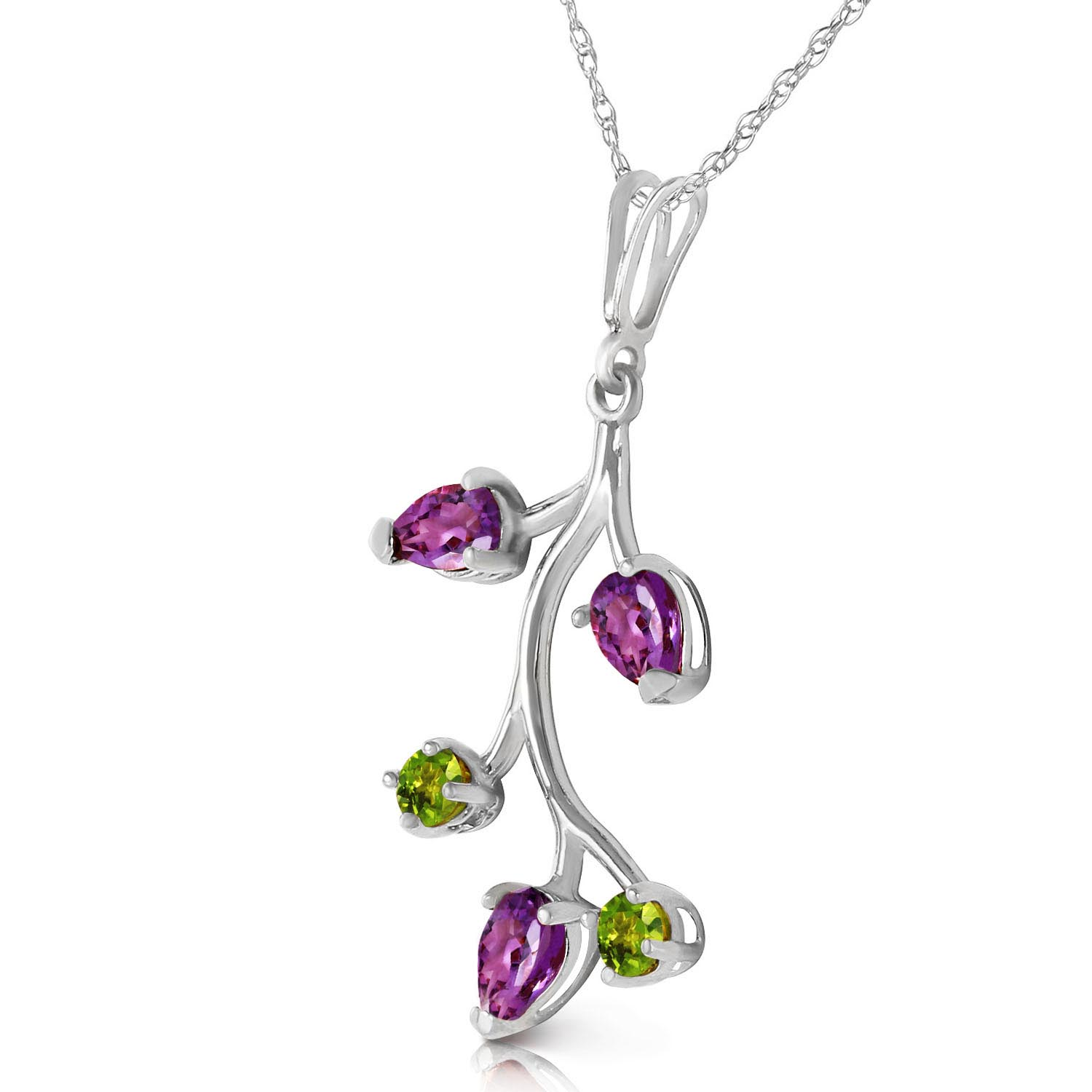 Amethyst and Peridot Vine Pendant Necklace 0.95ctw in 9ct White Gold