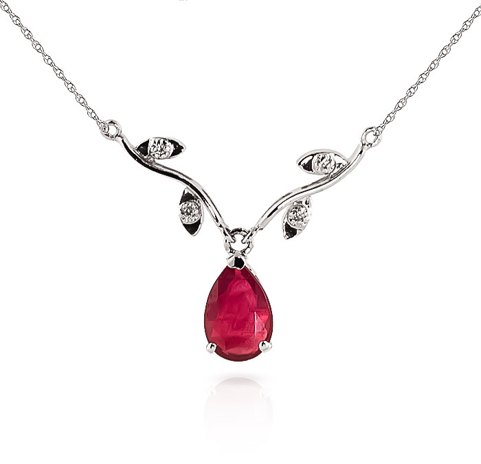 Ruby and Diamond Vine Branch Pendant Necklace 1.5ct in 9ct White Gold