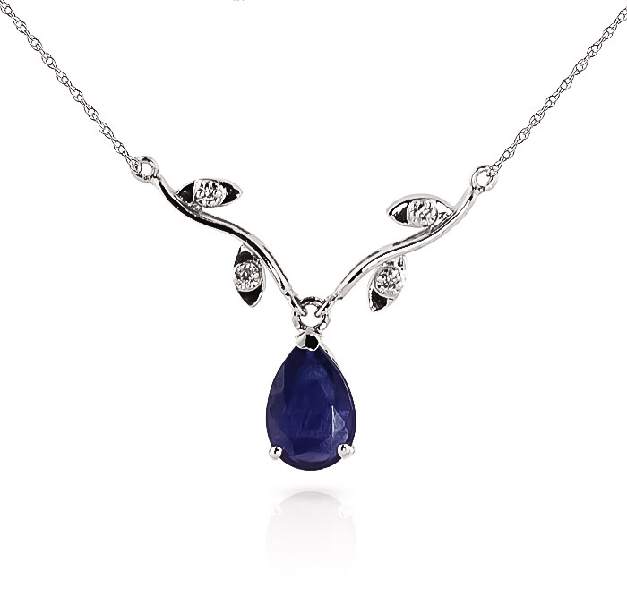 Sapphire and Diamond Vine Branch Pendant Necklace 1.5ct in 9ct White Gold