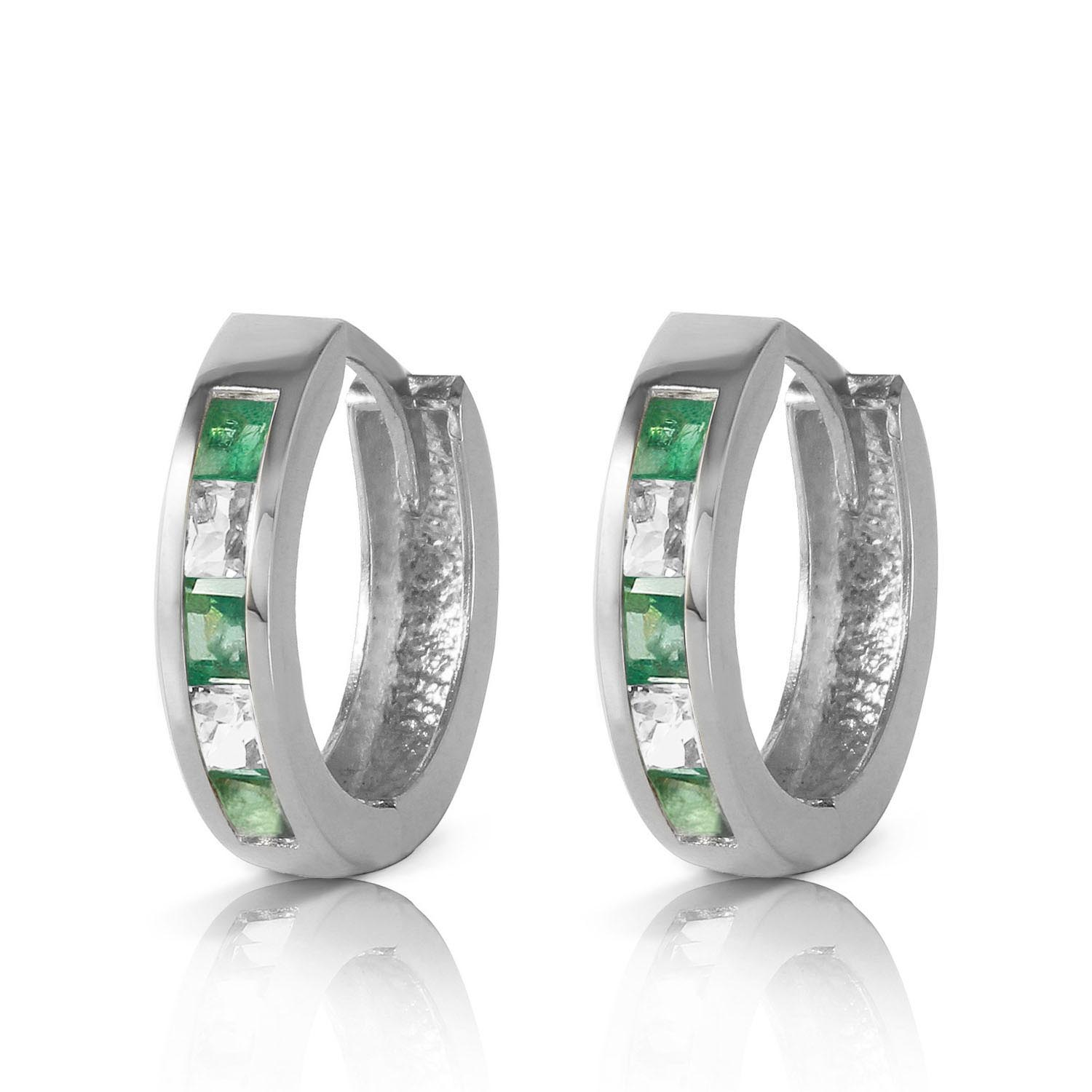 Emerald and White Topaz Huggie Earrings 1.26ctw in 9ct White Gold