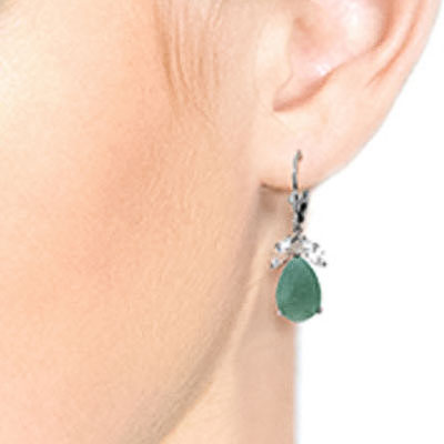 Emerald and White Topaz Drop Earrings 7.0ctw in 9ct White Gold