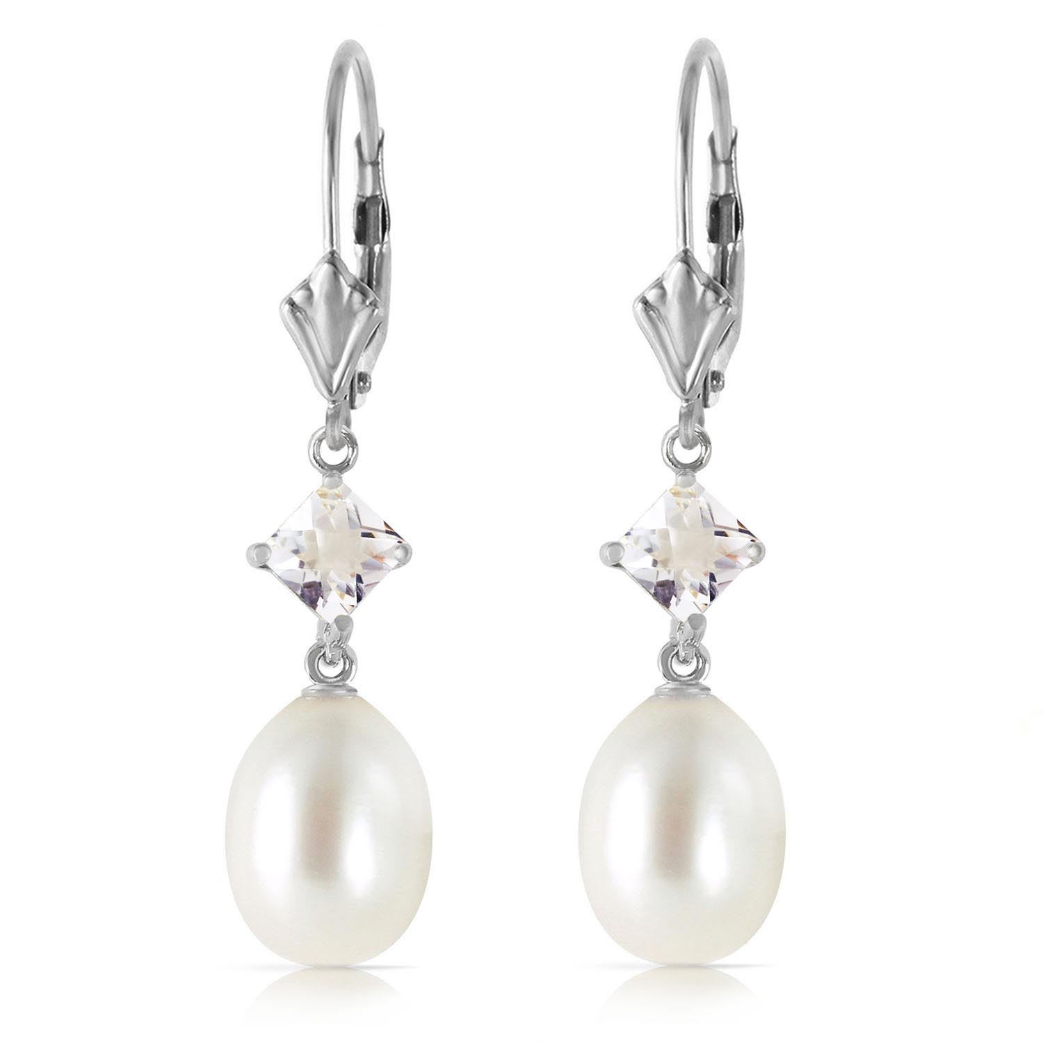 Pearl and White Topaz Drop Earrings 9.0ctw in 14K White Gold