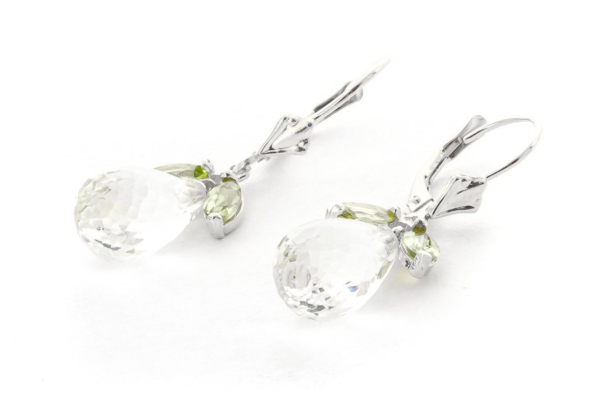 Peridot and White Topaz Drop Earrings 14.4ctw in 9ct White Gold